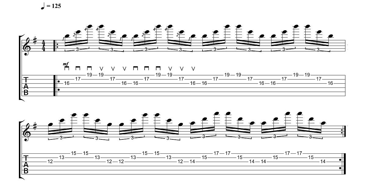1. Vingrinājums - Sweep Picking Vingrinājumi Pāri Freestyler Tēmai - Ģitārspēles Nodarbības - Gitarspele.lv