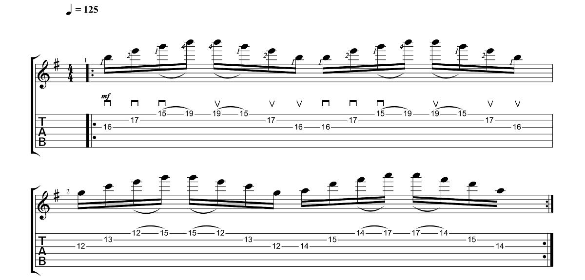 2. Vingrinājums - Sweep Picking Vingrinājumi Pāri Freestyler Tēmai - Ģitārspēles Nodarbības - Gitarspele.lv