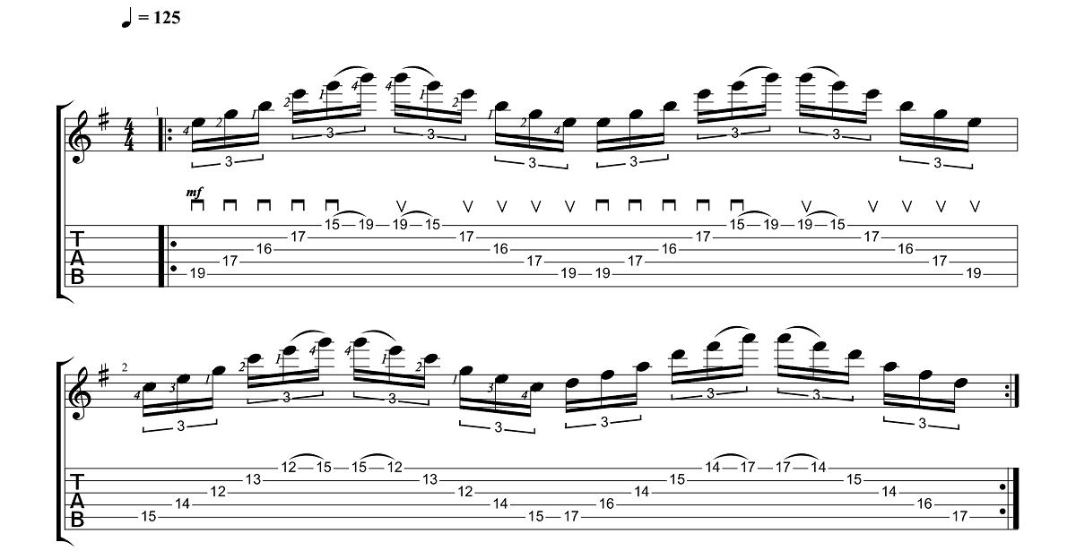 3. Vingrinājums - Sweep Picking Vingrinājumi Pāri Freestyler Tēmai - Ģitārspēles Nodarbības - Gitarspele.lv