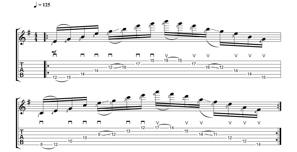 4. Vingrinājums - Sweep Picking Vingrinājumi Pāri Freestyler Tēmai - Ģitārspēles Nodarbības - Gitarspele.lv