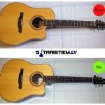 Stīgu maiņa akustiskajai ģitārai (bez stīgu tapiņām)
