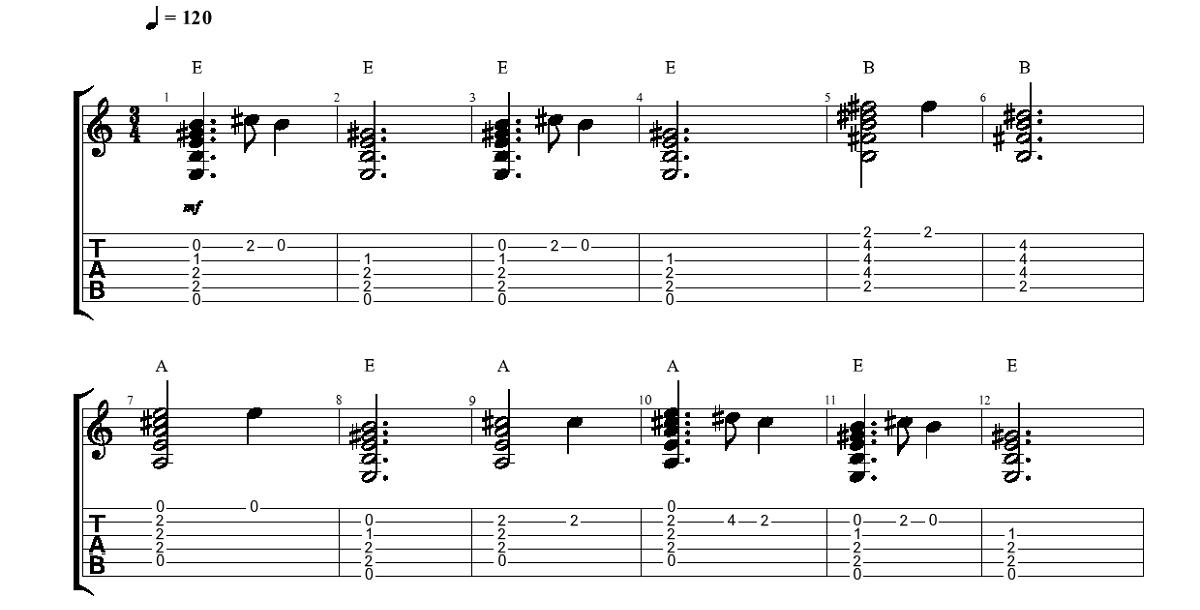 Klusa Nakts Svēta Nakts (akordi + melodija) 2. daļa - www.gitarspele.lv